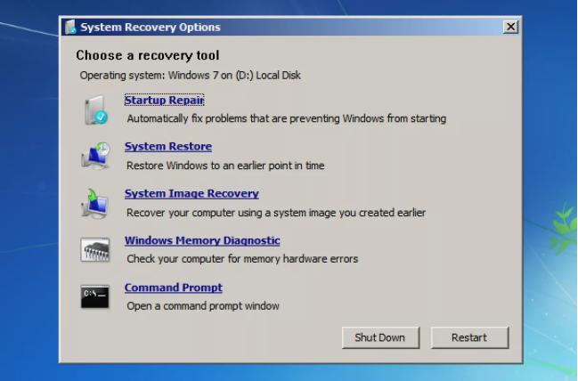 Windows7系统恢复选项