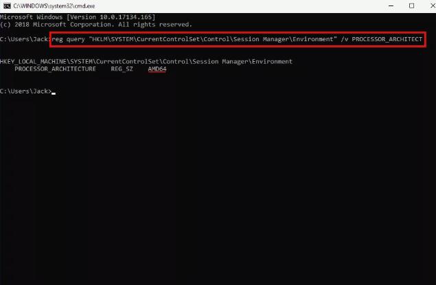 Windows 10中的reg查询处理器架构师命令的屏幕截图