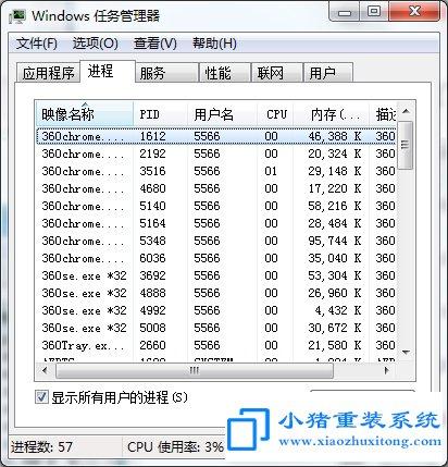 Win7系统任务管理器显示pid怎么弄