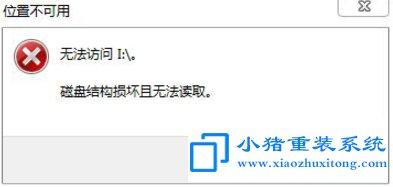 Win7提示磁盘结构损坏且无法读取解决方法